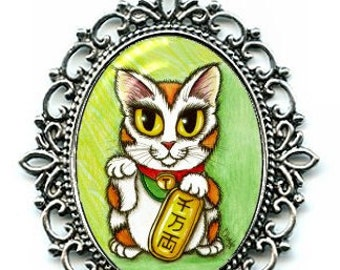 Lucky Cat Necklace Maneki Neko Luck Cat Cameo Pendant Silver Cat Necklace 40x30mm Gift for Cat Lovers Jewelry