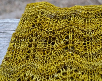 Ginseng Cowl - Hand Knit From Handdyed Grey-Yellow Merino Wool Yarn - Superwash Wool, Lace, Women's Fall & Winter Fashion, True Handmade