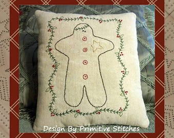 Gingerbread man-Primitive Stitchery E-PATTERN-INSTANT DOWNLOAD