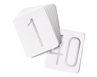 Table Numbers For Wedding Reception / Silver Table Number Cards 1 To 40