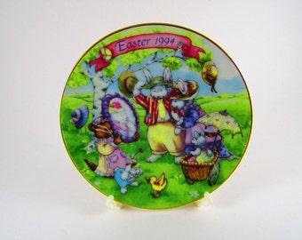 "Vintage Avon Collectors Plate, Easter 1994, ""All Dressed Up"" Porcelain with 22k Gold Trim"