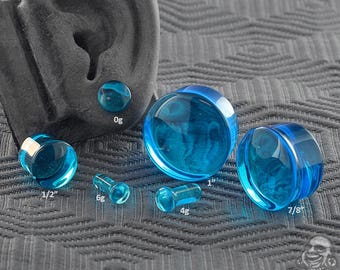 """Single Flare Pacific Blue Glass Plugs 6g, 4g, 2g, 1g, 0g, 10mm, 7/16"""", 1/2"""" (12.5mm), 9/16"""", 5/8"""", 3/4"""", 7/8"""", 1"""""""