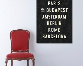 EUROPE Subway Art, Travel Poster, Subway Sign, Canvas Wall Decor, Travel Art Print, Industrial Decor, Dorm Wall Art, Typography Art, 24x36.