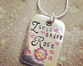 Lancashire Rose Pewter Pendant Necklace - Hand Stamped Necklace - Rose of Lancashire - Gift for Her - Jewellery - Personalised - Personalize