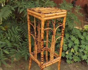 Bamboo Table, Burned Bamboo Wooden Plant Stand, Tall Narrow Asian Wood Night Stand, Tortoise Shell Display Stand, Peoples Republic of China