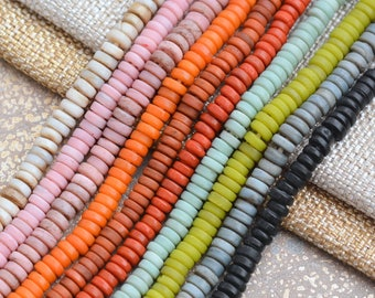 Lamp Work Glass Heishi Flat Tube Spacer Beads Opaque Glass Disc Donut Beads Rustic Indonesian Java Glass Beads, 20'' Strand, BB17-1101Choose