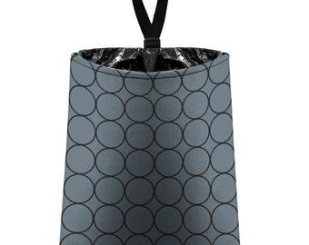 Car Trash Bag // Auto Trash Bag // Car Accessories // Car Litter Bag // Car Garbage Bag - Rings (dark grey and black) // Car Organizer