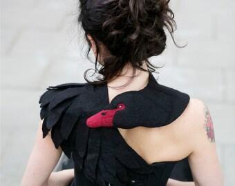 Black Swan - felted wool animal scarf, stole / shrug