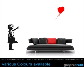 Banksy childhood Girl with balloon XLarge Vinyl wall art sticker