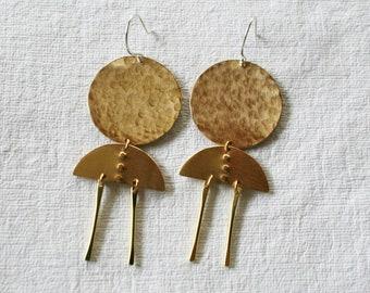 Fringe Earrings, Long Earrings, Big Earrings, Moon Earrings, Full Moon, Boho Earrings, TWO MOONS