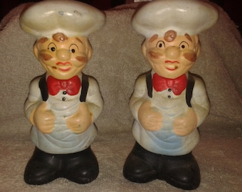 Vintage Ceramic Chef Salt and Pepper Shakers