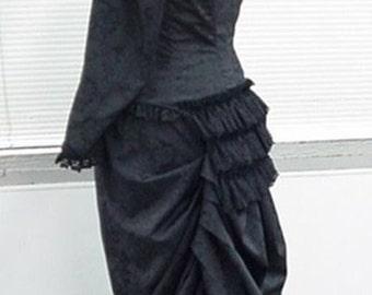 Post Civil War Victorian Bustle Gown Dress Natural Form Era 1870's Black Steampunk Goth NEW Costume