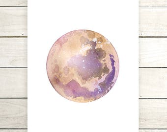 "Planet Watercolor Painting. ""Lova"" Fine Art Print. Galaxy. Decor. Giclée"