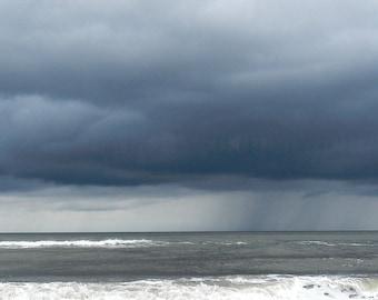 Dark Blue Beach Photography,Stormy Sky Beach Print,Blue Beach Art,Atlantic Ocean Photography,Coastal Wall Art,Ocean Print,Nature Photography