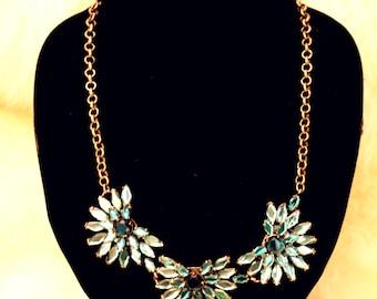 Green Crystal Flower Statement Bib Necklace