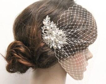 Birdcage veil,French netting wedding veil,Ivory birdcage veil,White bridal veil,Small veil,Wedding birdcage veil with bridal comb Fascinator