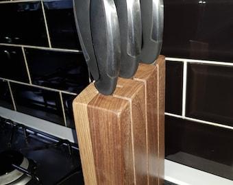 Black Walnut & Oak Knife Block - 5 Knifes
