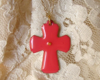 Mustard Seed Cross Necklace - Hot Pink Cross Necklace - Pink Mustard Seed Necklace - Mustard Seed Jewelry - Faith as a Mustard Seed
