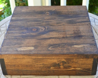 """16""""x16"""" Rustic Cake Stand, Custom Cake Stand, Rustic Wedding, Box Cake Stand, Wooden Cake Stand, Country Wedding, Fall Wedding, Wedding Cake"""