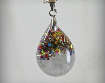 SALE...Teardrop Resin Pendant with glitter  ,  Resin Jewelry , Resin glitter Jewelry , Resin glitter Pendant
