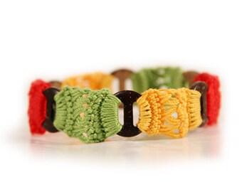 rasta bracelet - rasta jewelry - rasta clothing - fiber bracelet - button bracelets - crocheted - crochet - african jewelry - MudenoMade