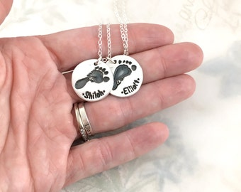 Mother's Day gift, actual footprint necklace, real footprint jewelry, mother gift, personalized necklace