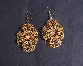 Oval Filigree Bronze Earrings