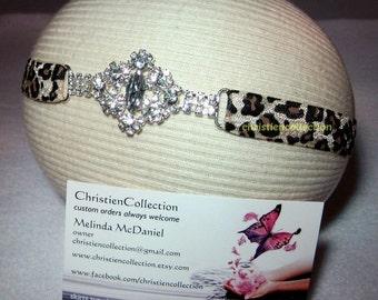 Jeweled Leopard Headband, Vintage Jeweled, Flower Girl Headband, Baby Headband, Toddler Headband, Adult Headband, First Photo, Infant Bling