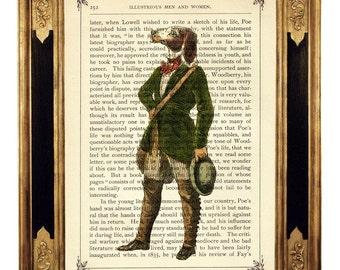 Dog Gentleman Dictionary Art Print Frock Coat Portrait Poster Steampunk - Vintage Victorian Book Page Art Print