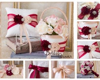 Wine and Blush Flower Girl Basket, Wedding Ring Bearer Pillow, Wedding Ring Pillow, Wedding Pillow, Flower Girl basket, Custom Color