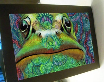 greeting card green frog face blank card