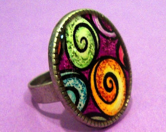 Whimsical Whirling Swirls Resin Ring Adjustable