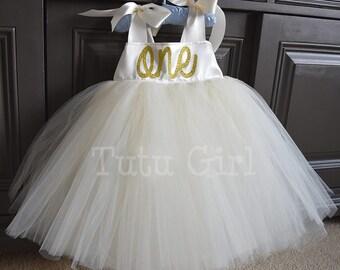 Ivory Gold Birthday Tutu Dress, Girls Gold Birthday Dress, Gold Glitter Birthday Dress, Custom Birthday Tutu Dress, Baby Birthday Dress
