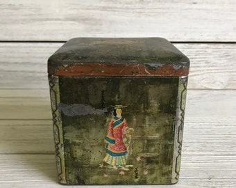 Vintage asian tin, chinese tin, vintage tin canister, antique japan tea tin caddy retro