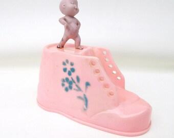 Vintage Baby Bank | Coin Bank | Kids Bank | Piggy Bank | Girls Bank | Large Pink Shoe | Nursery Decor