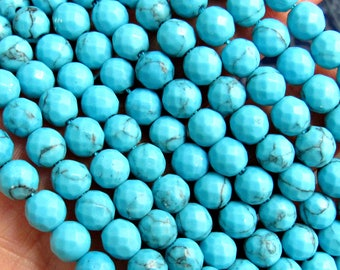 Turquoise Magnesite, 6mm beads, turquoise Magnesite, blue turquoise beads, blue magnesite, blue beads, 6mm blue beads, US seller