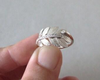 Leaf Engagement Ring - twig ring , alternative engagement ring , wedding band , silver ring , leaf ring , woodland ring ,
