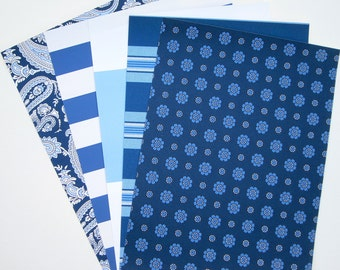 Shades of Blue Stripe, Paisley and Pattern Wallpaper Pack for Decoupage, ACTs, Paper Arts, Collage, Scrapbooking and Assemblage PSS 2448