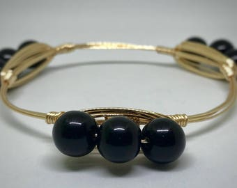 Black Beaded Wire Wrap Bangle Bracelet