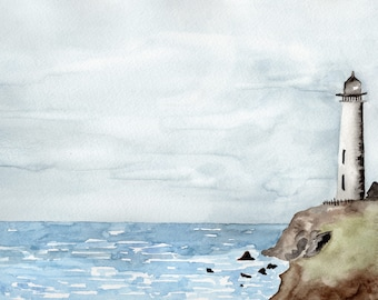 Lighthouse, Seascape, Watercolor Print (Original Available)