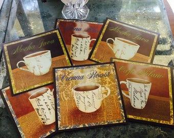 Coaster set of 6 coffee tea mug pad mocha square drink plastic easy clean
