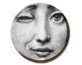 """LIQUIDATION SALE! Woman Face Winking Magnet or Pinback 2.25"""""""
