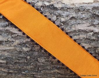 "Halloween Wired Ribbon, 1 1/2"" wide, Black with Orange Pom Poms - THREE YARDS - May Arts Taffeta Craft Wire Edged Ribbon"