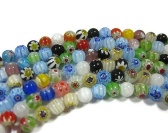 50 Flower and Star Millefiori Round Beads 6mm Assorted Colors