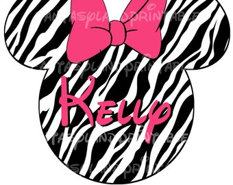 Minnie Safari DIY you print Printable Image for Iron on Transfers Disney Princess Zebra Cheetah Pink Animal Kingdom