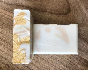 White Tea and Ginger handmade soap - vegan soap, gold soap, bar soap, shea butter, gift for her, shimmer, wedding, coconut oil, vegetarian