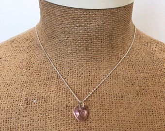 Light / baby pink adjustable heart pendant silver necklace in light / baby pink