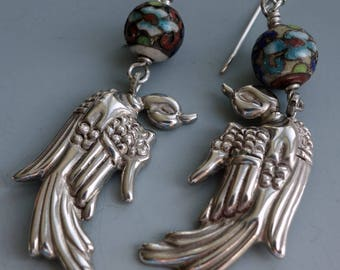 Mexican Sterling Antique Chinese Bird Earrings