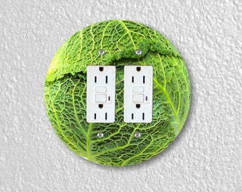 Cabbage Round Double GFI Grounded Outlet Plate Cover