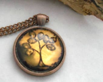 18 inch Antique Copper Chain Necklace with Tree of Life Cabochon Pendant (2065)